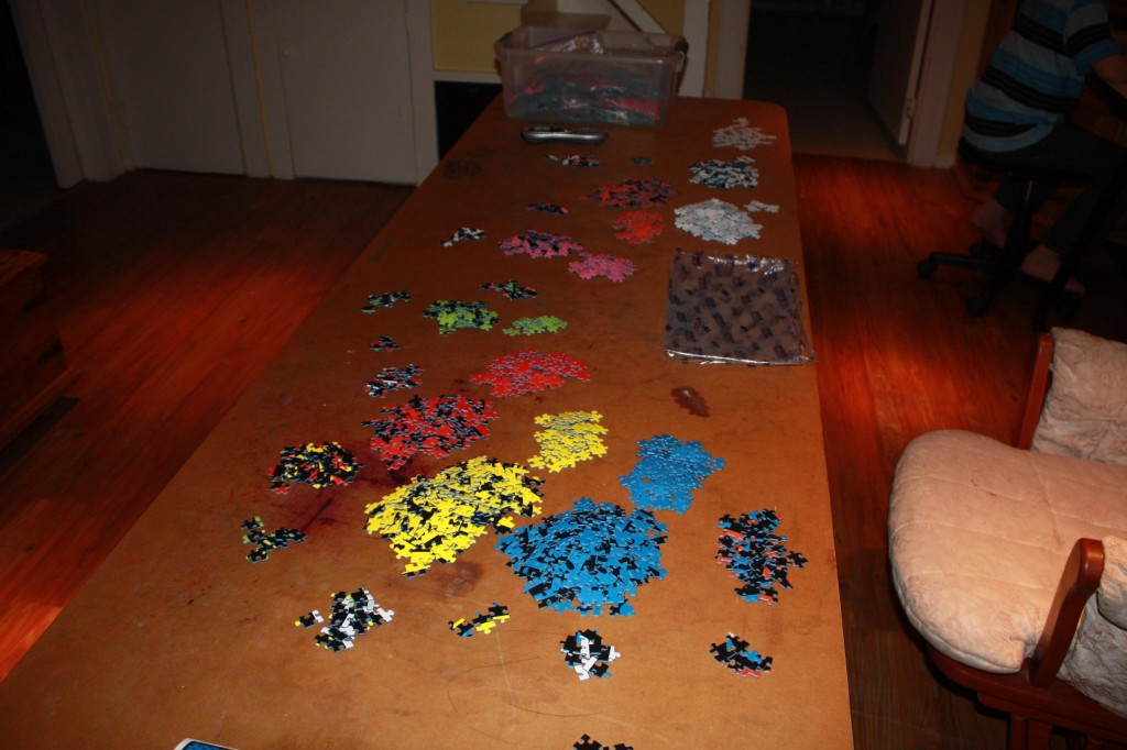 Sorting the pieces of the Ravensburger 32,000 piece puzzle